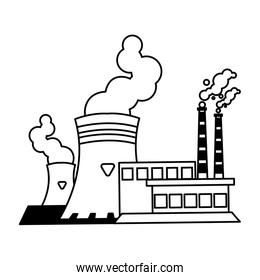 factory with smoke clouds on white background