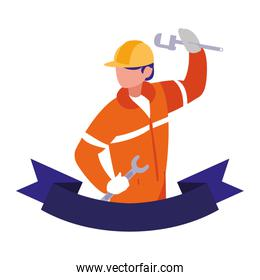 technician man in uniform with equipment on white background