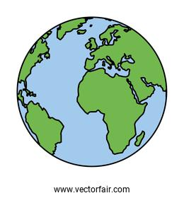 planet earth on white background