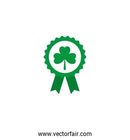 badge with green ribbon, flat style icon
