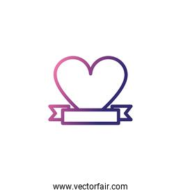 cute heart, gradient style icon