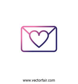 envelope closed with a heart,gradient style icon