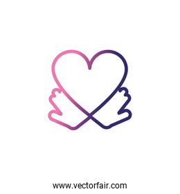 hands holding an heart,gradient style icon