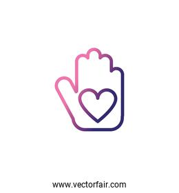 hand holding an heart,gradient style icon