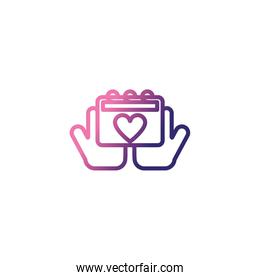 hands holding an calendar ,gradient style icon
