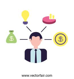 businessman in analysis and planning of ideas