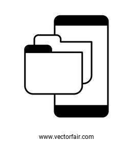 smartphone screen with folder in white background