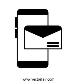 smartphone screen with envelope closed on white background