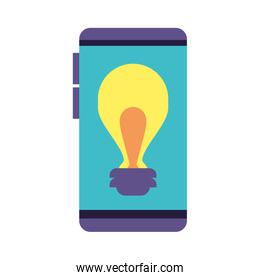 smartphone screen with light bulb on white background