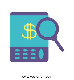 portable calculator on white background