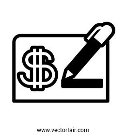 sheet of paper with symbol dollar on white background