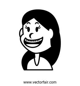 cute girl smiling on white background
