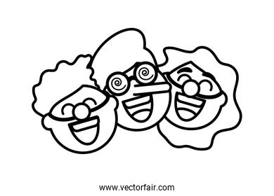 funny faces of children, clown head on white background
