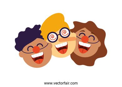 funny faces of children, clown heads isolated icon