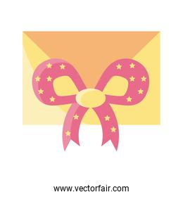 envelope closed with decorative ribbon on white background