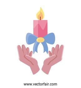 hands holding an candle on white background