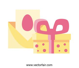 gift box with decorative ribbon on white background