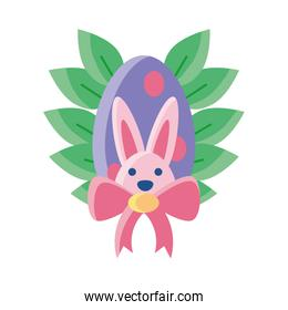 easter rabbit with eggs on white background