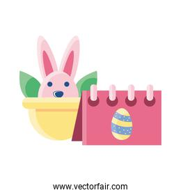 wicker basket with cute rabbit on white background