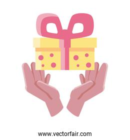 hands holding an gift box on white background