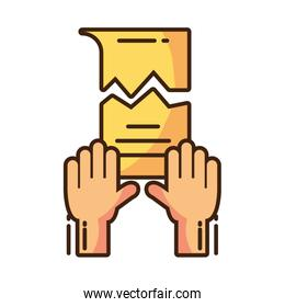 clenched fist held in protest on white background