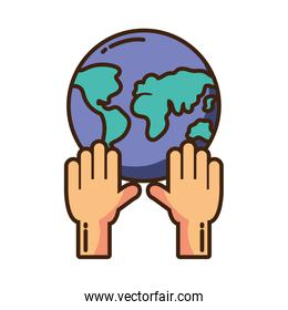 hands holding the planet earth on white background