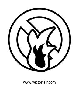 fire with forbidden symbol on white background