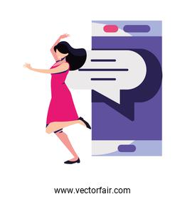 woman with smartphone screen and speech bubble on white background