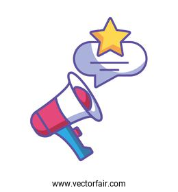megaphone with speech bubble on white background