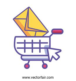 shopping cart with digital elements in white background
