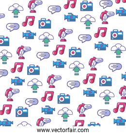 digital world icons pattern in white background