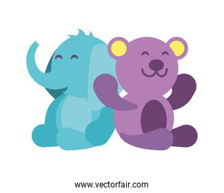 elephant and teddy bear on white background, baby toys