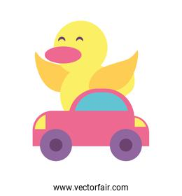 duck with car toy on white background, baby toys