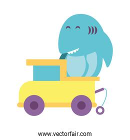 shark with truck toy on white background, baby toys