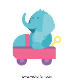 elephant with baby car on white background, baby toys