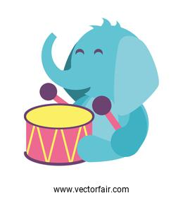 elephant with drum toy on white background, baby toys