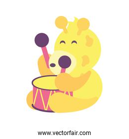 giraffe with drum toy isolated icon