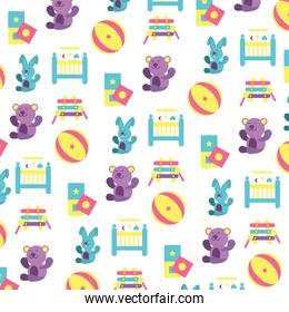 pattern of toys for small children on white background