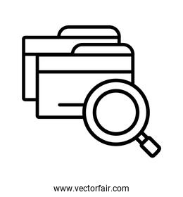 magnifying glass with digital objects in white background