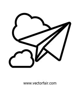 paper plane with clouds on white background
