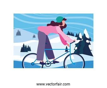 woman with bicycle, woman with healthy lifestyle