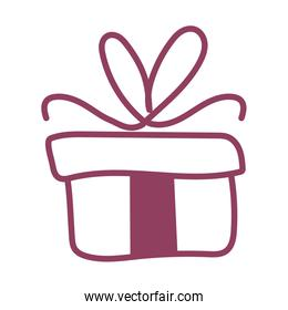 gift box on white background, line style icon