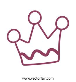 golden crown on white background, line style icon