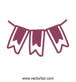 party garland hanging on white background, line style icon