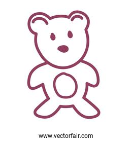 teddy bear on white background, line style icon