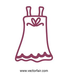 dress of woman on white background, line style icon