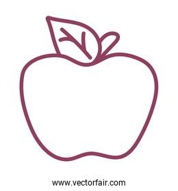 fresh and delicious apple on white background, line style icon