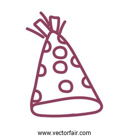 party hat on white background, line style icon