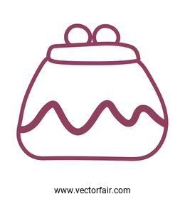 coin purse on white background, line style icon