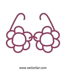 cute glasses on white background, line style icon